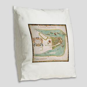 Historical Map of New York Cit Burlap Throw Pillow