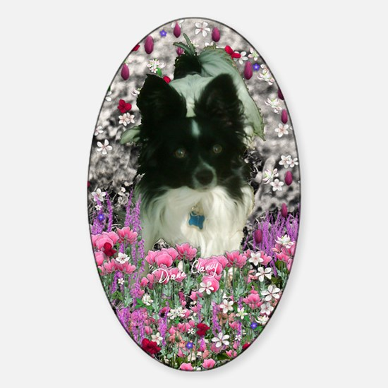 Matisse the Papillon in Flowers Sticker (Oval)