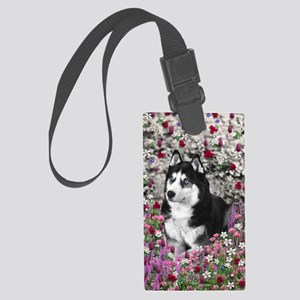 Irie the Siberian Husky in Flowe Large Luggage Tag