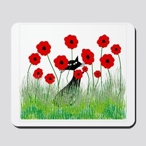 black cat poppies Mousepad