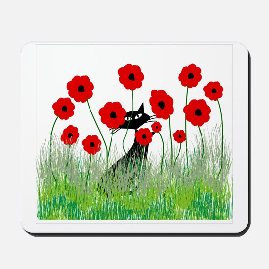 black cat poppies Mousepad