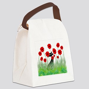 black cat poppies Canvas Lunch Bag