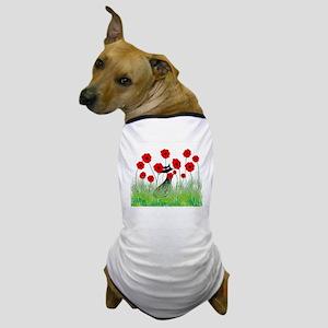 black cat poppies Dog T-Shirt