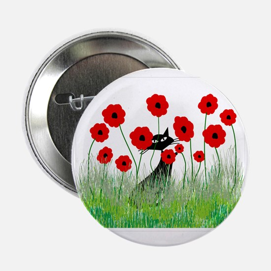 "black cat poppies 2.25"" Button"