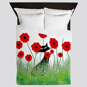 black cat poppies Queen Duvet