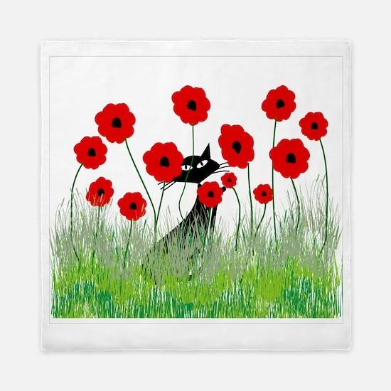 black cat poppies Queen Duvet