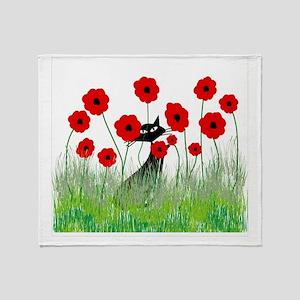 black cat poppies Throw Blanket