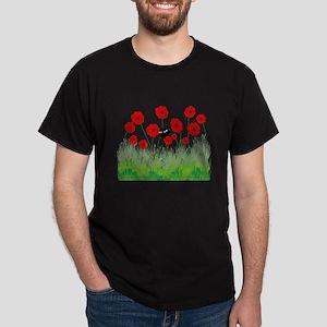 black cat poppies Dark T-Shirt