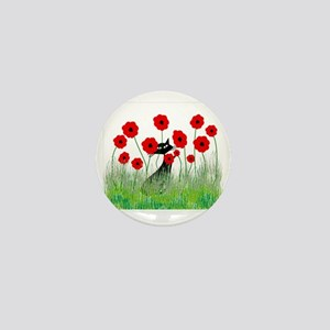 black cat poppies Mini Button