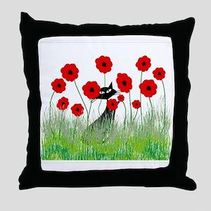 black cat poppies Throw Pillow