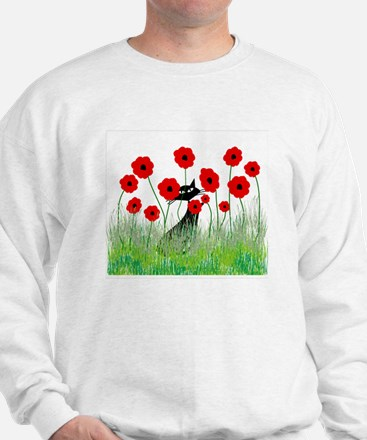 black cat poppies Sweatshirt