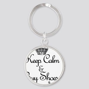 Keep Calm & Buy Shoes Round Keychain