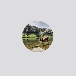 Cows in Lakes of Covadonga, Asturias Mini Button