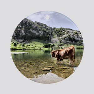 Cows in Lakes of Covadonga, Asturia Round Ornament