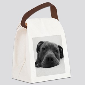 Cute Black And White Pit Bull Fac Canvas Lunch Bag