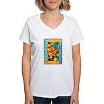 Autumn Quilt Watercolor Women's V-Neck T-Shirt