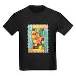 Autumn Quilt Watercolor Kids Dark T-Shirt
