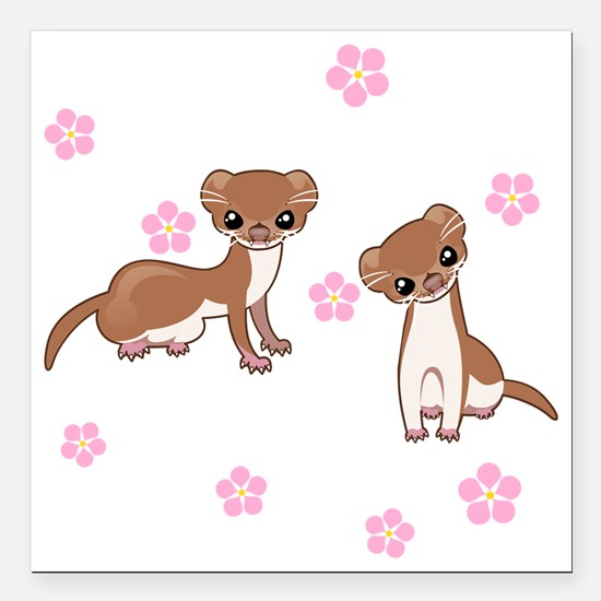 """Least Weasel Square Car Magnet 3"""" x 3"""""""