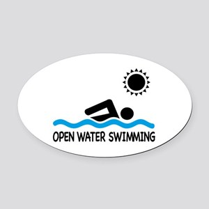 open water swimming Oval Car Magnet