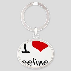 I Love Beelines Oval Keychain
