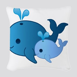 Baby Whale Woven Throw Pillow