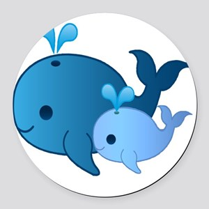 Baby Whale Round Car Magnet