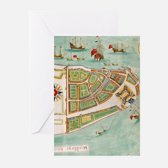 Historical Map of New York City (16 Greeting Cards
