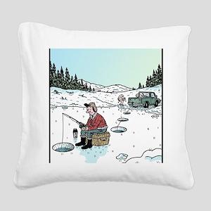 Ice-fishing fish prank Square Canvas Pillow