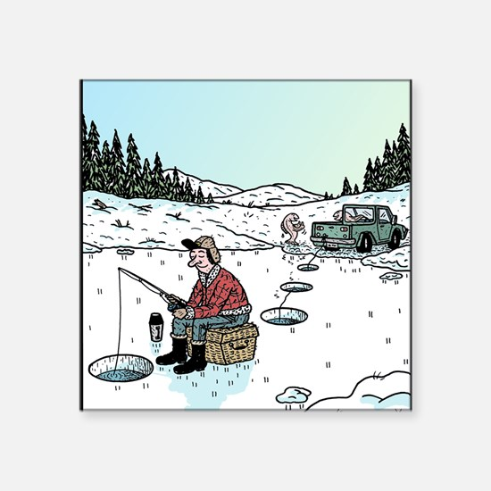 "Ice-fishing fish prank Square Sticker 3"" x 3"""