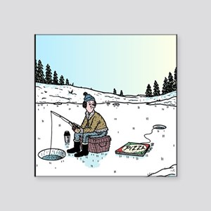 "Ice-fishing Pizza bait Square Sticker 3"" x 3"""