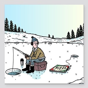 """Ice-fishing Pizza bait Square Car Magnet 3"""" x 3"""""""