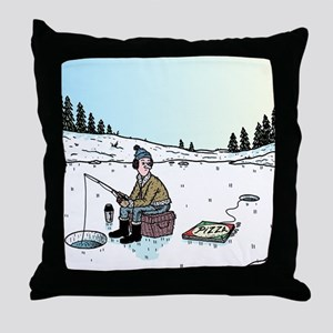 Ice-fishing Pizza bait Throw Pillow