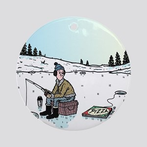 Ice-fishing Pizza bait Round Ornament