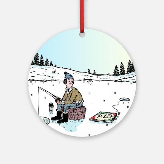 Ice-fishing Pizza bait Round Ornament