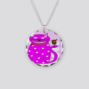 Whimsical Cat and Bird Necklace Circle Charm