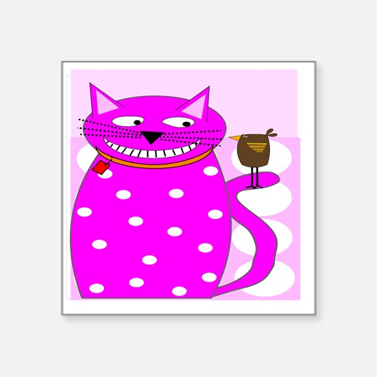 """Whimsical Cat and Bird Square Sticker 3"""" x 3"""""""
