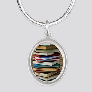 Book Lovers Blanket 2 Silver Oval Necklace