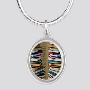 Book Lovers Flip Flops Silver Oval Necklace