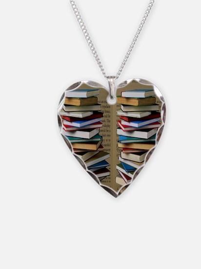 Book Lovers Flip Flops Necklace Heart Charm