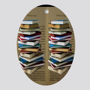 Book Lovers Flip Flops Oval Ornament