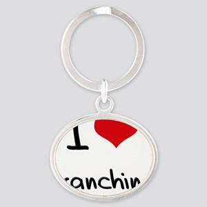 I Love Branching Oval Keychain