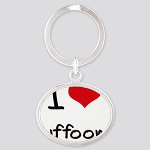 I Love Buffoons Oval Keychain