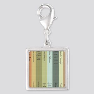Book Lovers Silver Square Charm