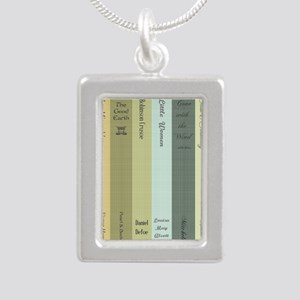 Book Lovers Silver Portrait Necklace