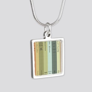 Book Lovers Silver Square Necklace