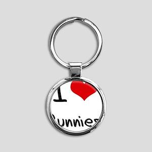 I Love Bunnies Round Keychain