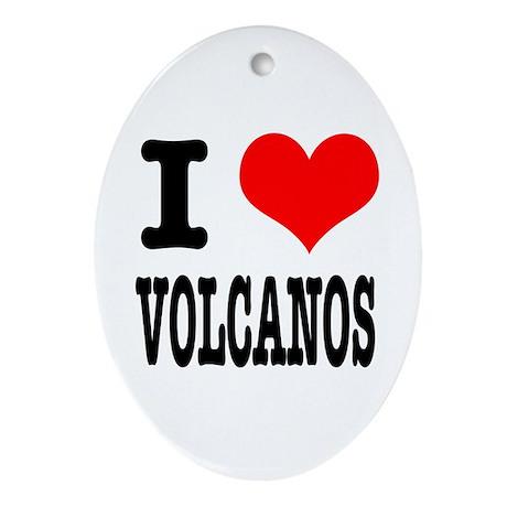 I Heart (Love) Volcanos Oval Ornament
