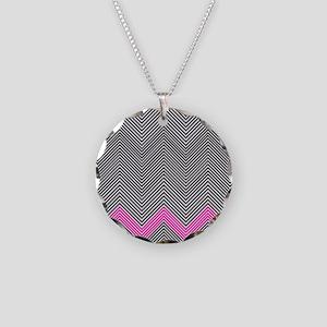 Zigzag Necklace Circle Charm