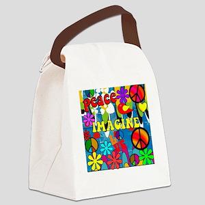 Retro Peace Symbols Canvas Lunch Bag