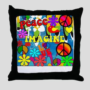 Retro Peace Symbols Throw Pillow